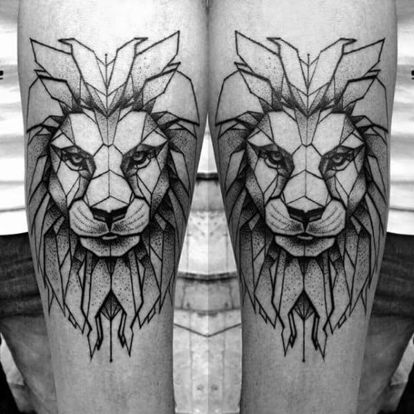 Gentlemens Geometric Lion Tattoo Ideas On Forearms