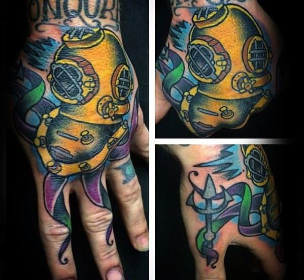 Gentlemens Hand Colorful Diving Helmet Tattoo Ideas