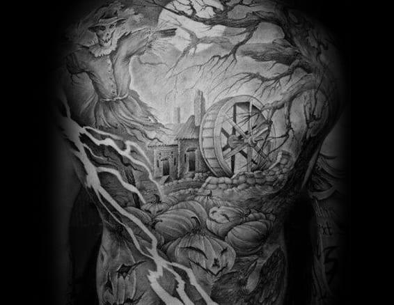 Gentlemens Haunted House Tattoo Ideas