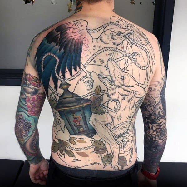 Gentlemens Lantern Tattoo Ideas On Full Back