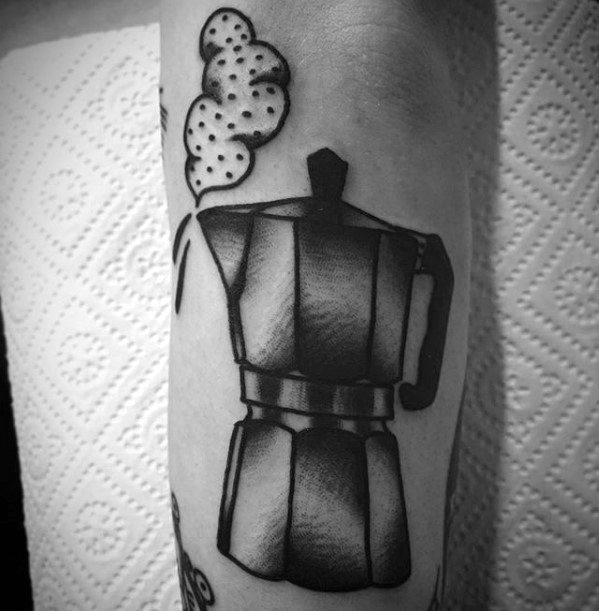 Gentlemens Outer Forearm Steaming Coffee Pot Tattoo Ideas