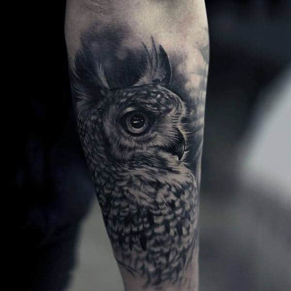 Gentlemens Owl Animal Tattoo With Shaded Black Ink On Forearm