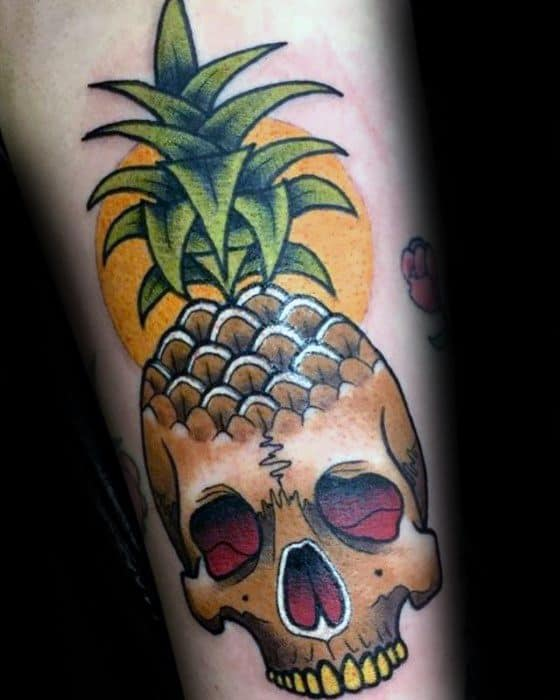 Gentlemens Pineapple Skull 3d Forearm Tattoo Ideas