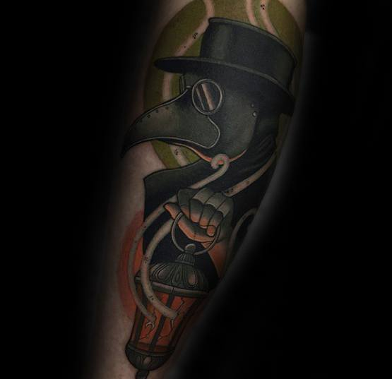 Gentlemens Plague Doctor Tattoo Ideas On Leg
