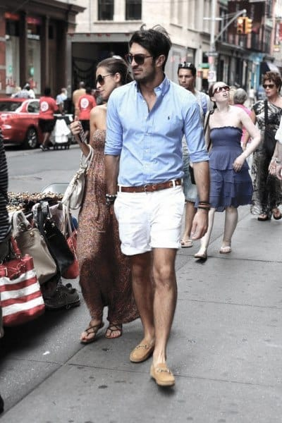 Gentlemens Summer Outfits Style Ideas Light Blue Dress Shirt With White Shorts
