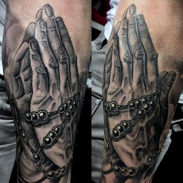 Gentlemens Tattoos Praying Hands Rosary