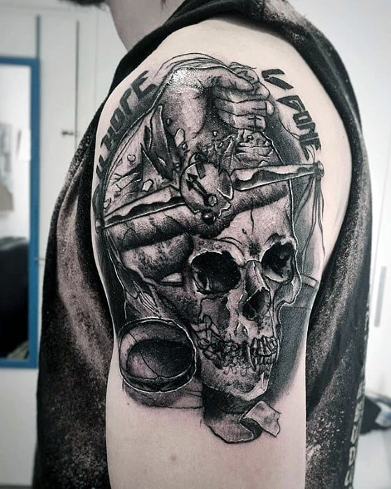 Gentlemens Upper Arm Metallica Tattoo Ideas