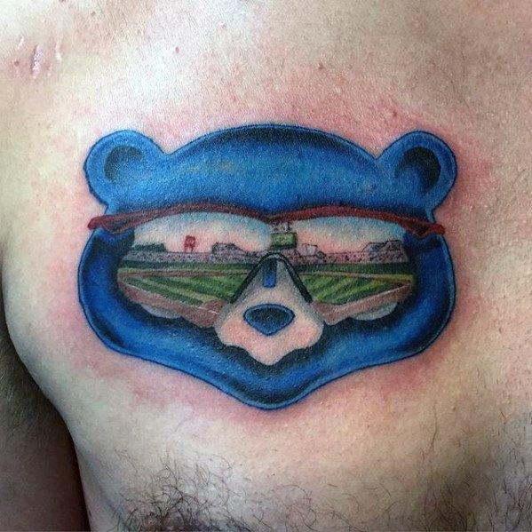 Gentlemens Upper Chest Bear Chicago Cubs Tattoo Ideas