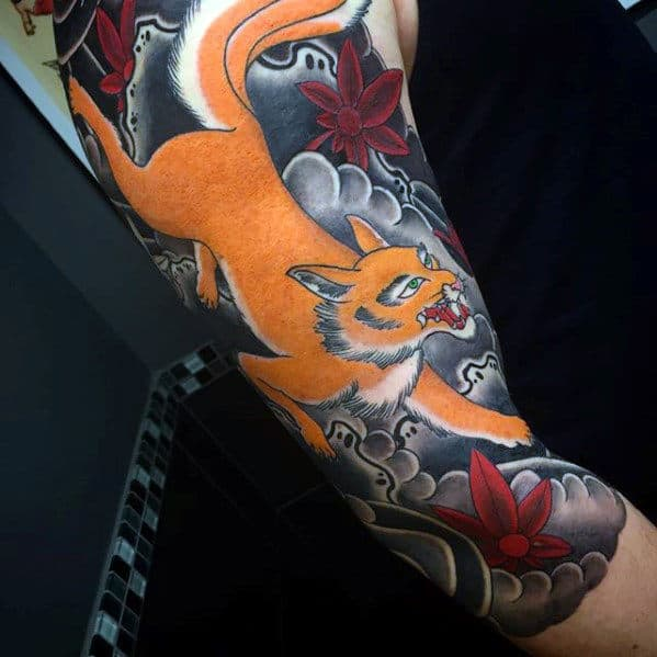 Gentlemn With Kitsune Half Sleeve Japanese Tattoo