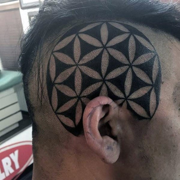 Geometeric Circle Head Tattoo On Male