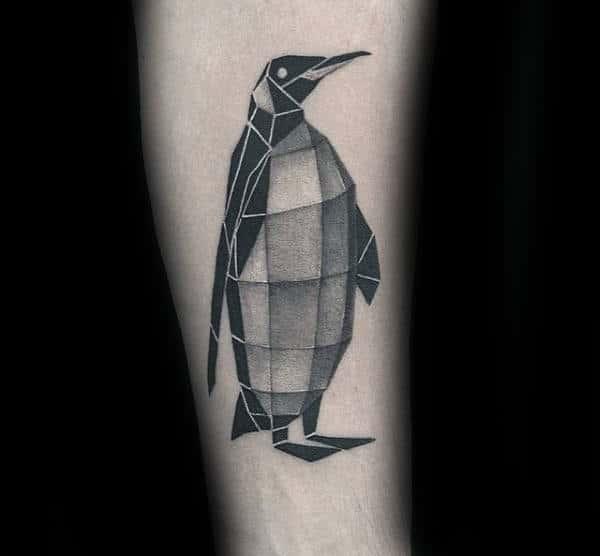 Geometeric Cube Penguin Male Forearm Tattoo