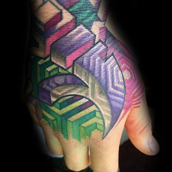 Geometric 3d Colorful Hand Guys Tattoos