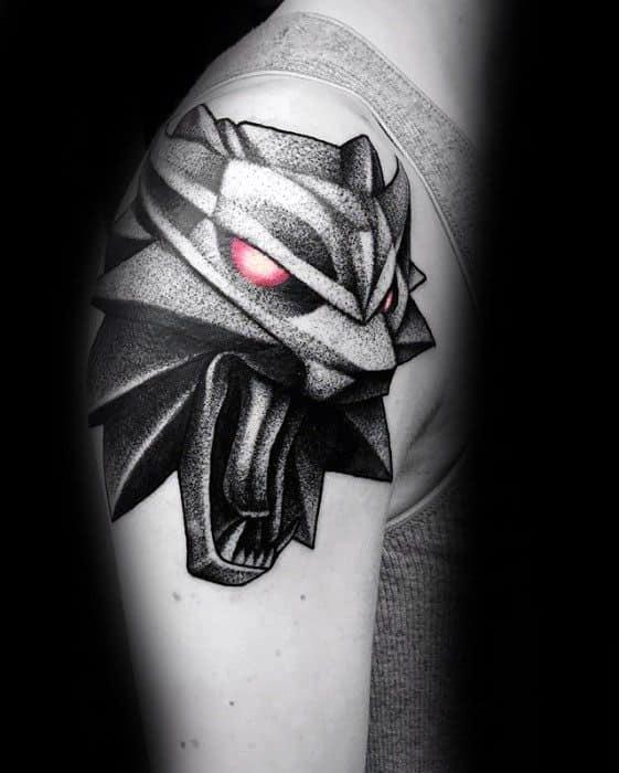 Geometric 3d Dotwork Mens Sick Wolf Tattoo Ideas On Arm