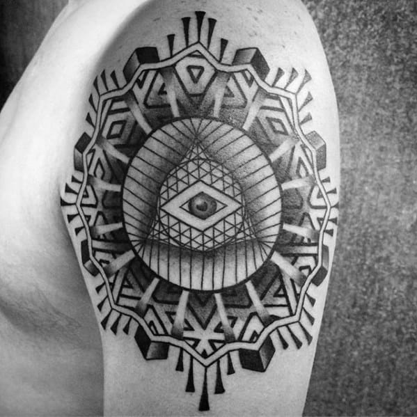 Geometric 3d Eye Of Providence Guys Pattern Arm Tattoo