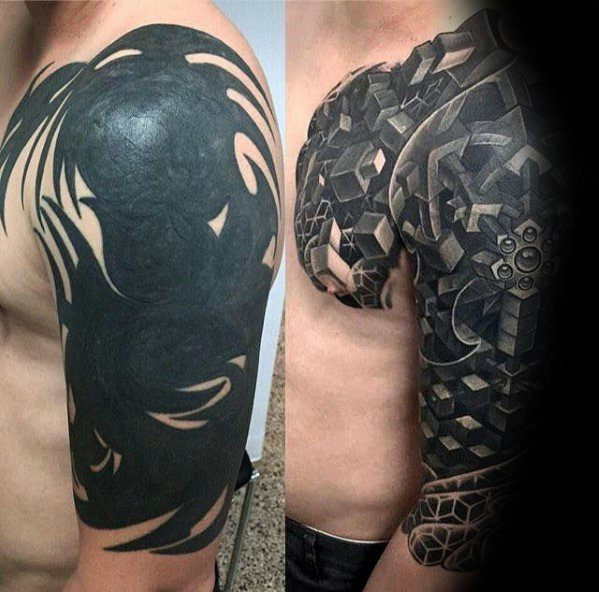 Geometric 3d Half Sleeve Male Cover Up Tattoo Design Ideas