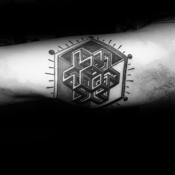 Geometric Abstract 3d Inner Arm Mens Tattoos