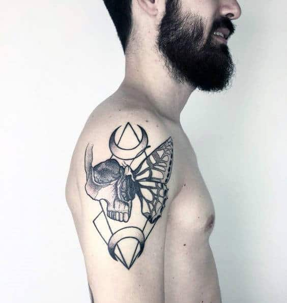 Geometric Abstract Butterfly Skull Mens Life Death Upper Arm Tattoos