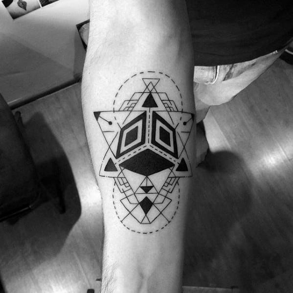 e89930806 Geometric Abstract Shapes Coolest Small Tattoo Ideas For Guys On Forearm