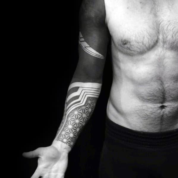 Geometric All Black Male Sleeve Tattoos