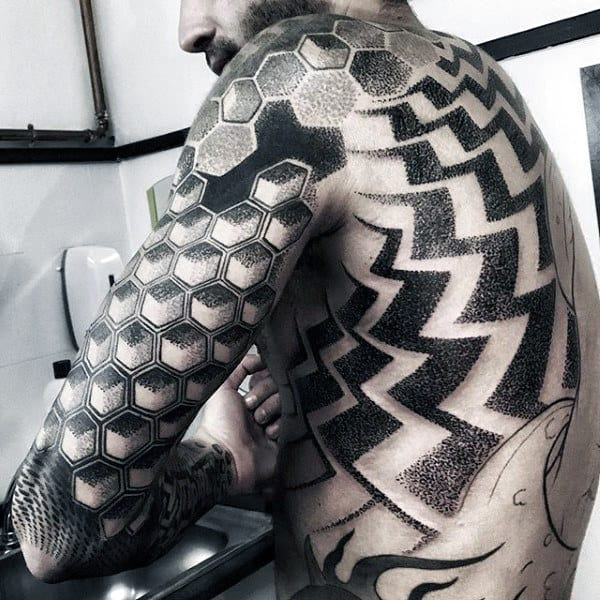 Geometric Amazing Dotwork Tattoos For Men Full Body