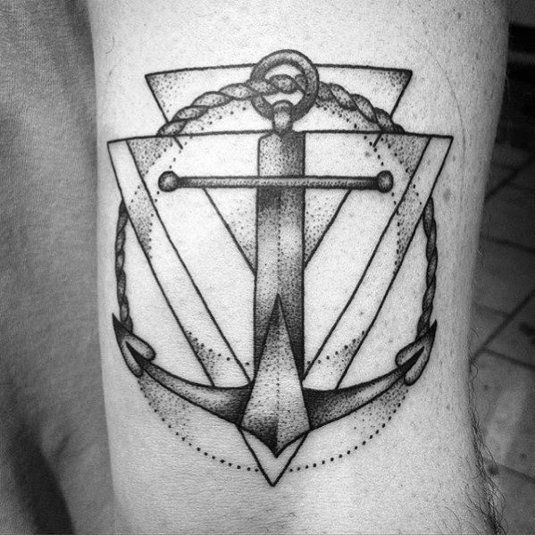 Geometric Anchor Sword Mens Unique Arm Tattoos
