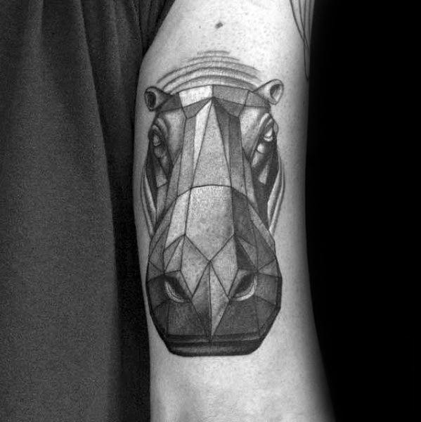 Geometric Animal Hippo Tattoo Designs For Guys