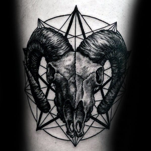 Geometric Aries Male Skull Of Ram Tattoo On Arm