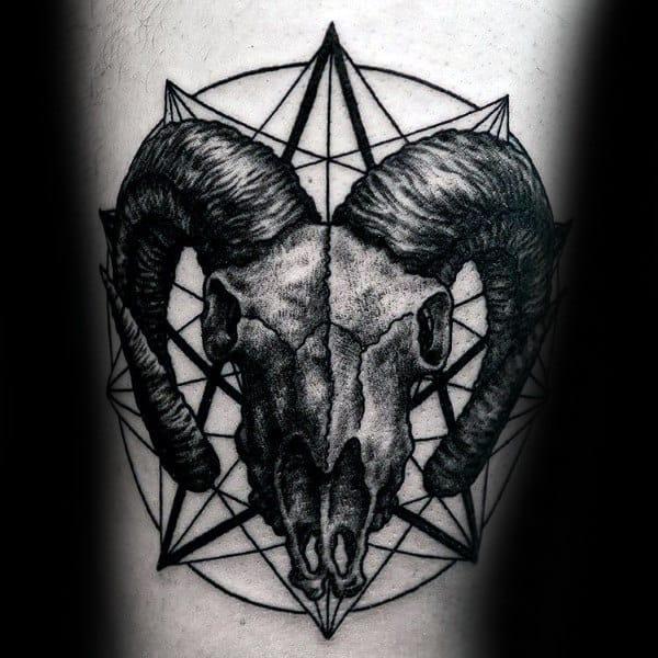 Geometric Aries Male Skull Of Ram Tattoo On Arm
