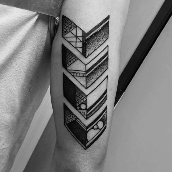 Geometric Arrows Back Of Arm Tattoos For Guys