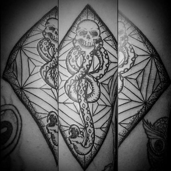 Geometric Back Guys The Dark Mark Tattoo Design Ideas