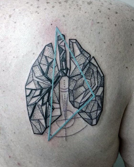 Geometric Back Of Shoulder Blade Guys Lung Tattoo Deisgns