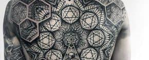 40 Geometric Back Tattoos For Men – Dimensional Ink Ideas
