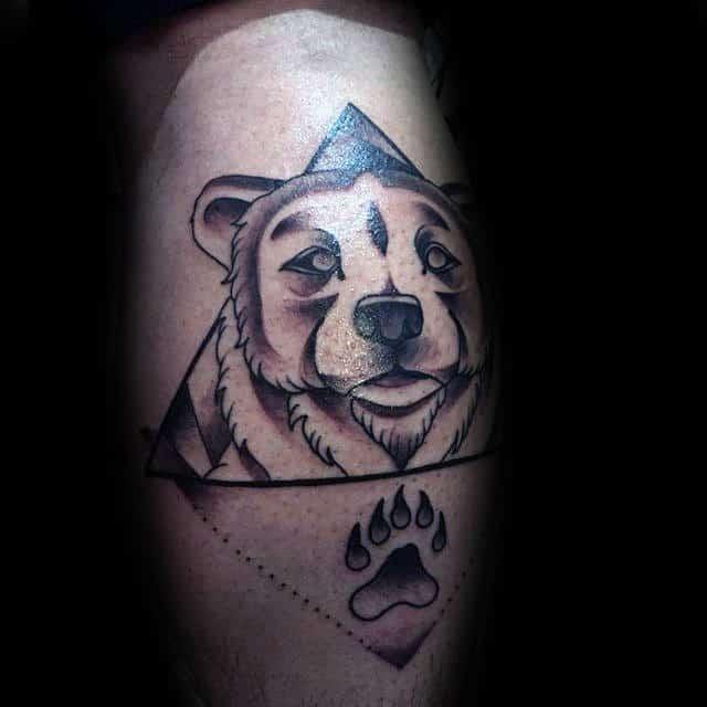 Geometric Bear Claw Leg Calf Tattoo On Gentleman