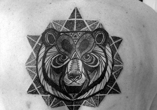 Geometric Bear Dotwork Mens Upper Back Tattoos