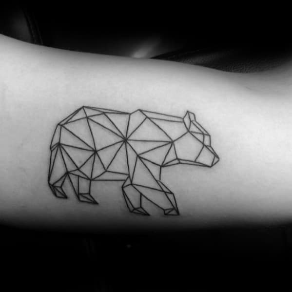 Geometric Bear Guys Simple Inner Arm Bicep Tattoo Ideas