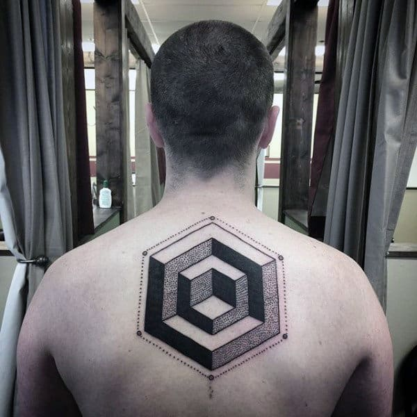 Geometric Blivet Optical Illusion Mens Tattoo