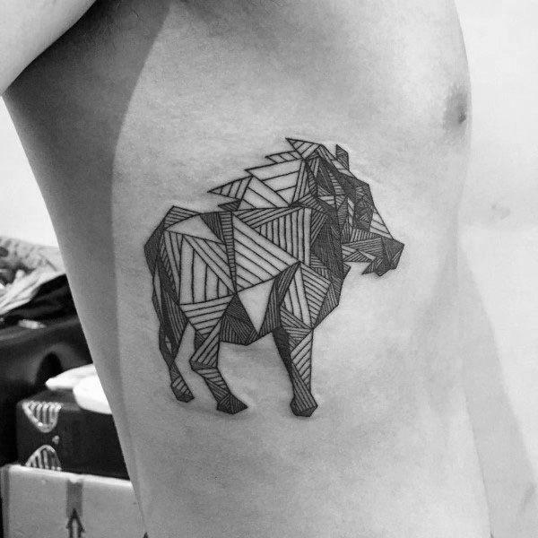 Geometric Boar Male Rib Cage Side Tattoos