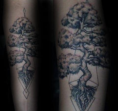 Geometric Bonsai Tree Forearm Male Tattoos
