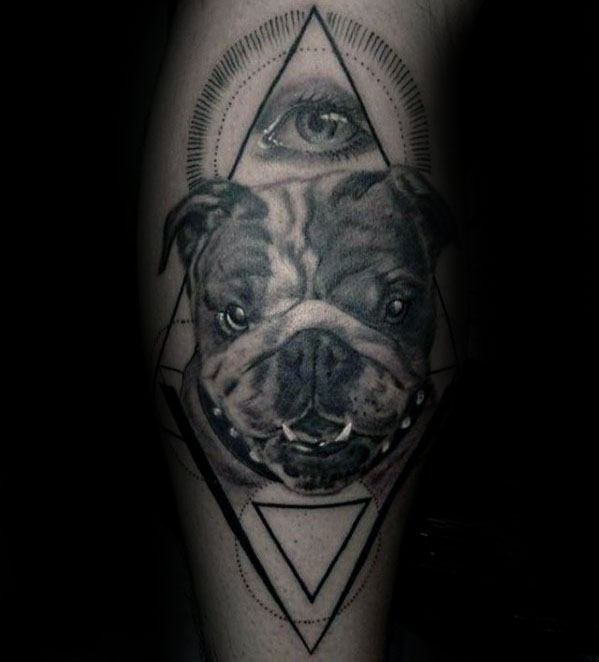 Geometric Bulldog Mens Forearm Tattoos