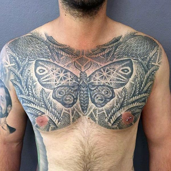Geometric Butterfly Mens Fern Chest Tattoos