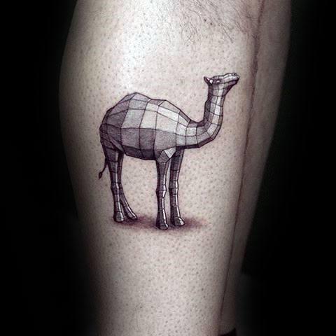 Geometric Camel 3d Mens Side Of Leg Tattoos