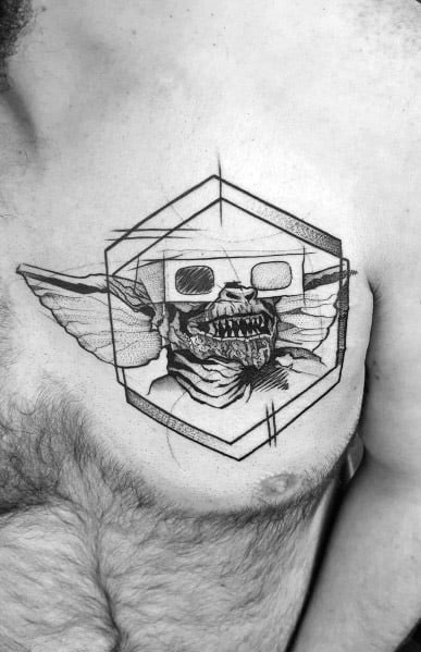 Geometric Chest Guys Tattoo Designs Gremlin