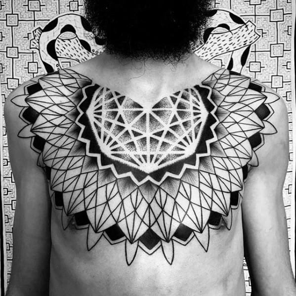 Geometric Chest Tattoos For Gentlemen