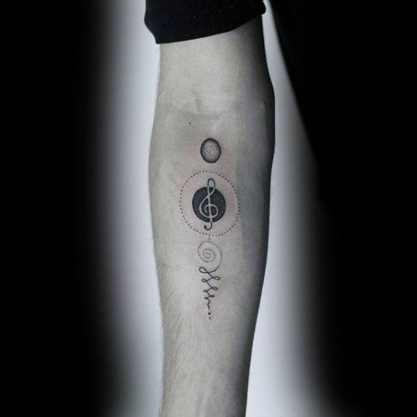 Geometric Circles Guys Music Note Simple Tattoo On Inner Forearms