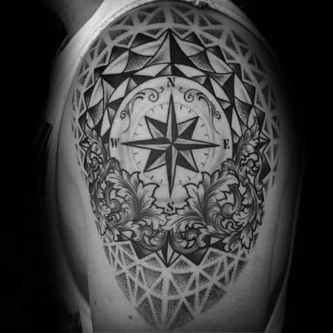 Geometric Compass Guys Tattoos