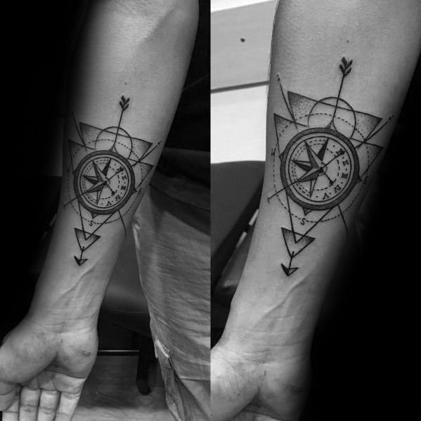 Geometric Compass Male Tattoos