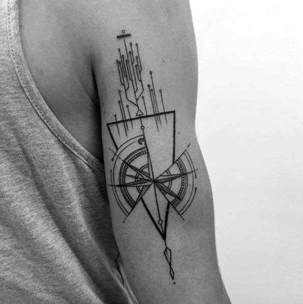 Geometric Compass Mens Tattoo Designs