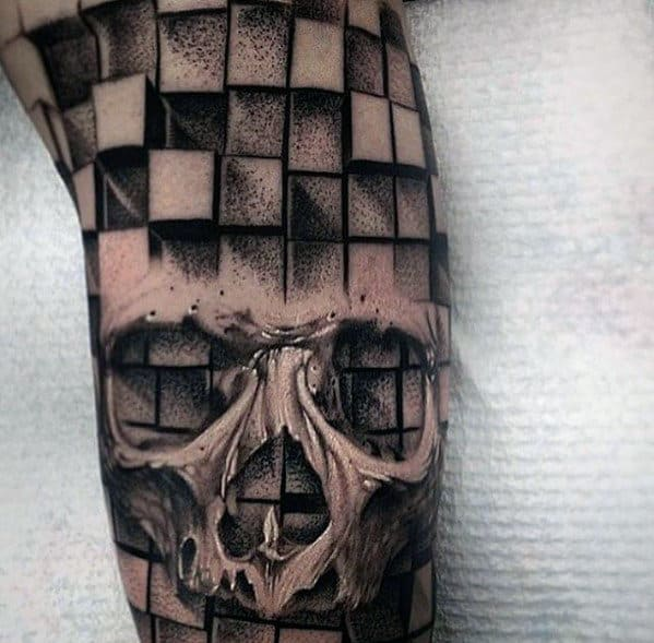 Geometric Cube Clock Shadd Mens Skull Sleeve Tattoo