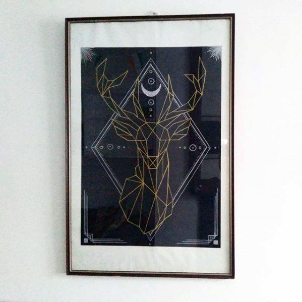 Geometric Deer Posted Bachelor Pad Wall Art Design