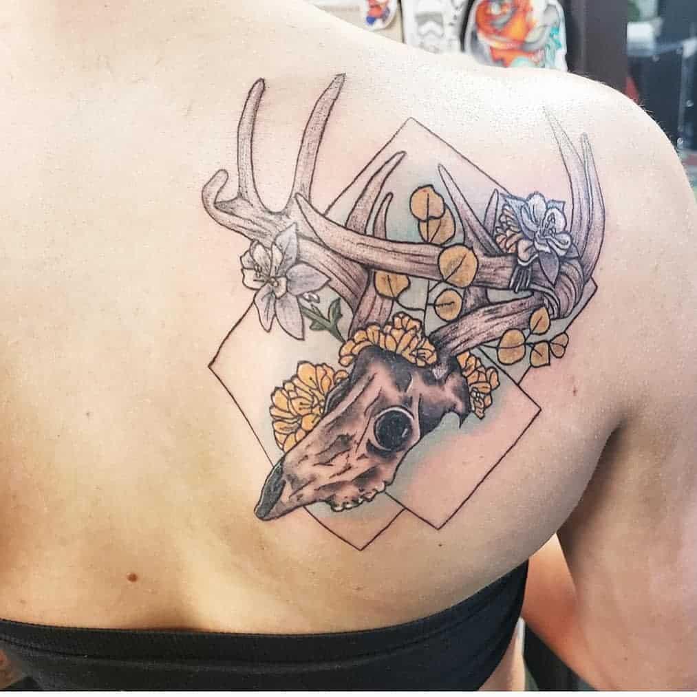 geometric deer skull tattoo katscratchkatie